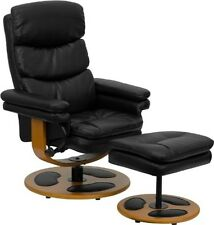 Flash Furniture Contemporary Black Leather Recliner & Ottoman W/Wood Base NEW