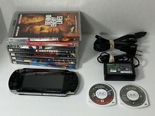 Sony PSP 2001 Slim Black Handheld System - TESTED 6 Games & 2 Movies NEW BATTERY
