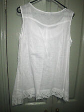 Suzannegrae 12 White Sheer Uneven Hem Lace Trim Tank Top