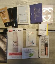 Lot of 10 beauty and fragrance samples plus ipsy cosmetic bag