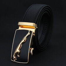 Luxury Style Genuine Leather Belts Automatic Metal Leopard Buckle Men Waistband
