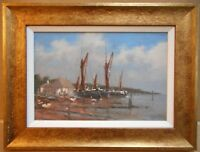 Barges on the Orwell, Suffolk. Oil by listed Marine artist Brian J Jones c 2000