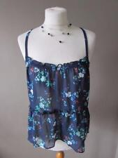 HOLLISTER Ladies Navy Blue Floral Sheer Strappy Cami Top Vest Size Large L VGC