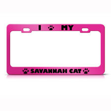 Savannah Cat Pink Animal Steel Metal License Plate Frame Car Auto Tag Holder