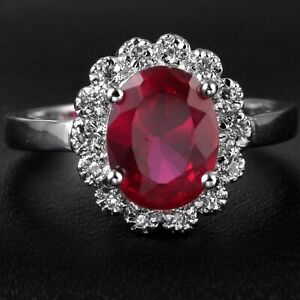 Natural 2.80CT Ruby 14K White Gold  Ring  CM139