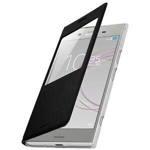 Smart view window flip case for Sony Xperia XZ1, slim cover – Black