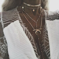 Women Multilayer Moon Horn Pendant Necklace Clavicle Chain Unique Jewelry