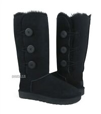 UGG Bailey Button Triplet II Black Suede Fur Boots Womens Size 7 *NIB*
