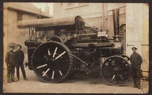 REAL PHOTO POSTCARD DREADNOUGHT ROAD LOCOMOTIVE TRACTION STEAM ENGINE c1910