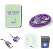 4 USB PORT WALL ADAPTER+10FT CORD CHARGER SYNC PURPLE FOR IPHONE IPOD TOUCH IPAD