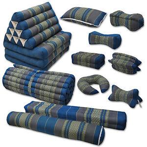 Kissen Matte grau blau Meditation Deko Boden Garten sitzen liegen Couch Thai
