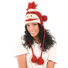 Delux Red Cute Sock Monkey Winter Warm Wool Animal Pilot Knit Hat Knitwits NWT