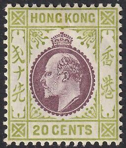 Hong Kong 1911 KEVII 20c Purple and Sage-Green Mint SG96 cat £50