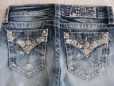 Miss Me Slim Boot Jeans-Med 363-Sequins-Crystals-Destroy Pocket-Size 27-NWT $104
