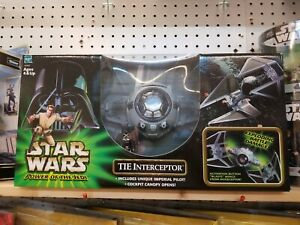 * 2001 Star Wars Power of the Jedi POTJ TIE Interceptor w/ Unique Imperial Pilot