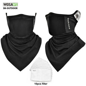 Half Face Cover With Filter Neck Gaiter Tube Scarf Ear Hanging Bandana Xma Gifts