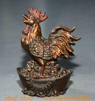 """8.8 """"Ancienne Rouge Cuivre Feng Shui Zodiac Animal Coq Yuanbao Richesse Statue"""
