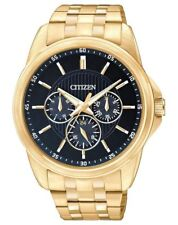 Mens Citizen Quartz Gold Stainless Steel Black Dial Day Date Watch AG8342-52L