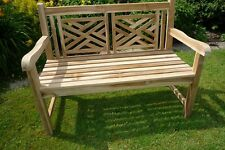 Cross Backed Garden Bench Made From Solid Teak Hardwood