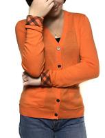 Authentic women's BURBERRY BRIT orange cashmere/cotton cardigan | Size M