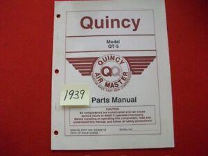 1993 QUINCY AIR MASTER CAST IRON COMPRESSOR MODEL QT-5 REPLACEMENT PARTS MANUAL