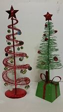 LOT OF 2 METAL WIRE TABLE TOP RED & GREEN CHRISTMAS TREES W/ ORNAMENTS AND STAR