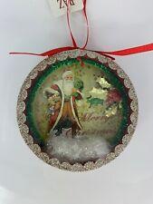 "NWT Raz Imports 4"" 'Vintage' Santa Shadow Box Christmas Glitter Ornament"