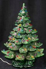 """Vtg 70's Atlantic Mold 22"""" Ceramic Green Christmas Tree Bird Peg Light SEE VIDEO"""