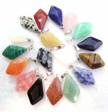 Wholesale Mix agate Diamond shaped pendants Charms fit Necklaces jewelry making