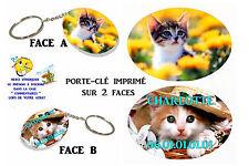 porte clé ovale polymère chat personnalisé avec prénom au choix réf 04