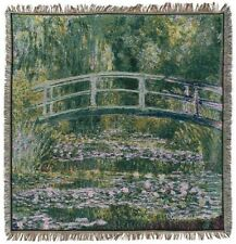 "NEW 60"" MONET PONT GIVERNY BRIDGE BELGIAN TAPESTRY TABLE THROW BED SPREAD 7146"