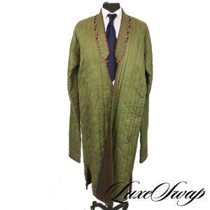 INSANE Original Vintage Antique Green Reversible Quilted Hand Sewn Robe Coat NR