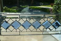 Beautiful Blue/Clear Diamond Beveled Stained glass Transom!