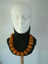 Vintage Afrian Copal Caramelo Ámbar Naranja Grande Perla Collar