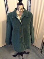 ALFRED DUNNER WOMEN'S SIZE 14 GREEN QUILTED JACKET COAT PRETTY BUTTONS & POCKETS