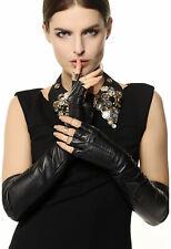 Warmen Opera Long Soft Nappa Leather Fingerless Gloves Small Black