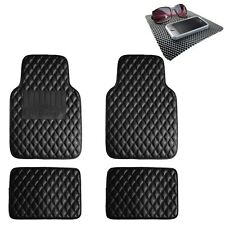 Universal Leather Floor Mats For Auto Diamond Pattern Carbon Black With Dash Mat Fits 2012 Toyota Corolla