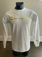 Champion Heritage Long Sleeve Tee, T Shirt White/Gold Foil Script. Sizes M-2XL