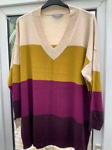 Principles oversized jumper multi colourway v neck 22/24 worn once vgc