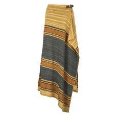 RALPH LAUREN Hand Knitted Linen Multi Stripe Asymmetric Maxi Wrap Skirt M L