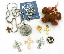 Religious jewelry lot of 10, crosses, bottle cap, yarn figure, dove pendant