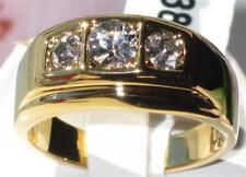 MANS 3 STONE 3CT  SIMULATED DIAMONDS MENS RING ALL SIZES SIGNET GOLD PINKY MANS