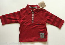 BNWT Timberland Baby 100% Pure Cotton Long Sleeve Polo Rugby Top 6 months Red