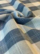 100% cotton Washed Denim Plaid fabric sold by the yard 4 Oz Thin Light 56