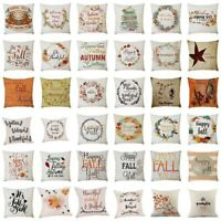 """18"""" Happy Thanksgiving Pillow Case Home Car Decor Square Cushion Pillow Cover"""