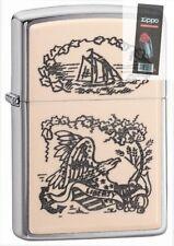 Zippo 29517 Scrimshaw Liberty Eagle Emblem Brushed Chrome Lighter + FLINT PACK