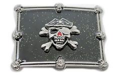 Men Women Buckle Silver Skulls Skeleton Halloween Black Pirate Deat Big Gothic