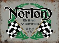 Norton British Racing Machines, Motorcycle, Metalic Large Metal Steel Wall Sign