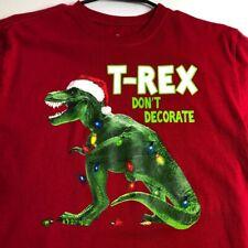 T-Rex Don't Decorate Christmas Boy's Short Sleeve T Shirt XXL 18 Red Crewneck