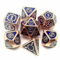 7Pcs Metal Polyhedral Dice DND RPG MTG Role Playing and Tabletop Game Blue new